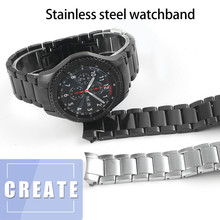 22MM Man Watch Bands For Samsung Frontier Gear S3 Stainless Steel Business Strap Curved End Watchband Replacement Watch Black