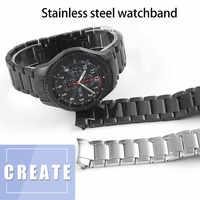 22mm opaski do zegarka do Samsung Frontier Gear S3 S4 pasek ze stali nierdzewnej biznes zakrzywiony koniec wymiana paska od zegarka zegarek R810/R800