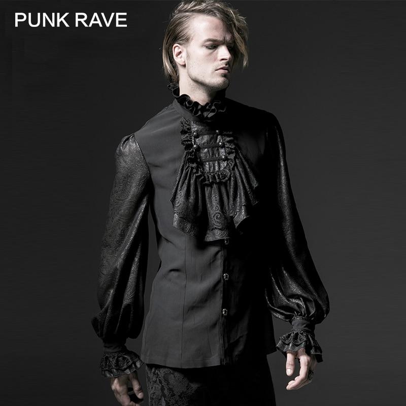Панк рейв готический черный белый мягкий кружева высокий стоячий воротник сценический шифон Мужская рубашка с длинным рукавом тиснение блузка черепахообразная кнопка
