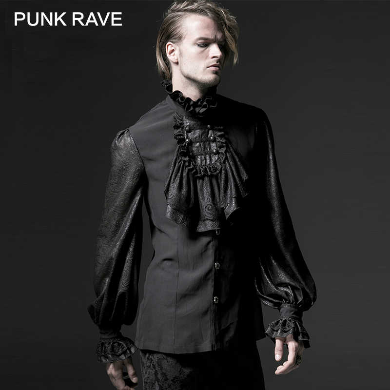 7abfdb5d PUNK RAVE Gothic Black White Soft Lace High Stand Collar Stage Chiffon Men  Shirt Male Long