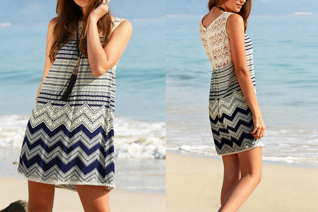 Lace Patchwork Sleeveless Bohemian Dress