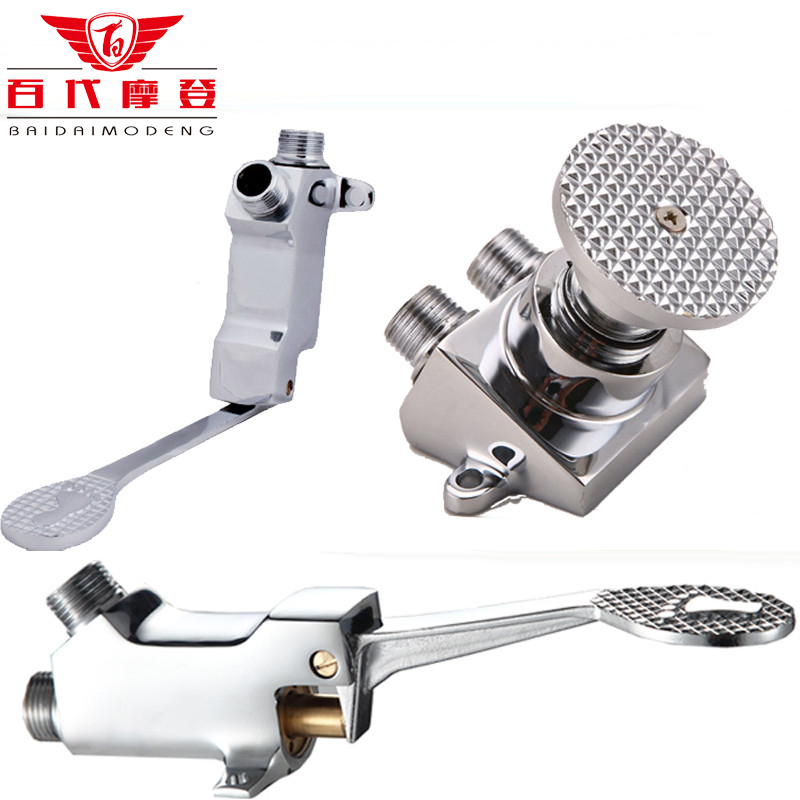 Copper Faucet Basin Floor Mount Pedal Hospital Medical Laboratory Foot Switch Tap single cold Single Value