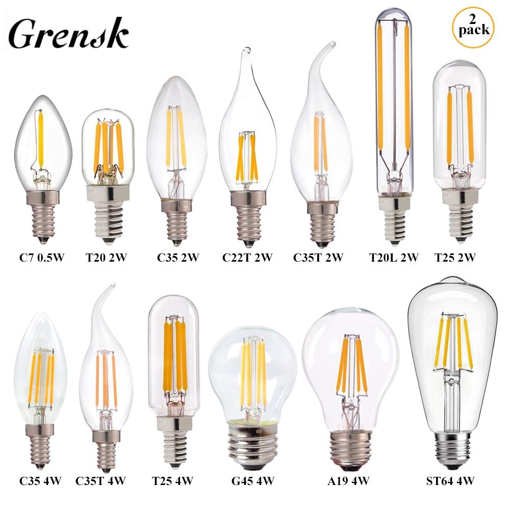 Grensk Dimmable LED Bulb E27 E14 C22T C35 T25 G45 G80 G95 G125 ST64 A19 2W 4W 6W 8W 10W Vintage LED Lamp Light Bulb 2700K CRI 85
