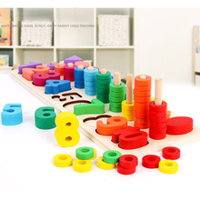 Preschool Wooden Montessori Toys Count Geometric Shape Cognition Match Baby Early Education Teaching Aids Math Toys For Children flyingtown montessori teaching aids balance scale baby balance game early education wooden puzzle children toys