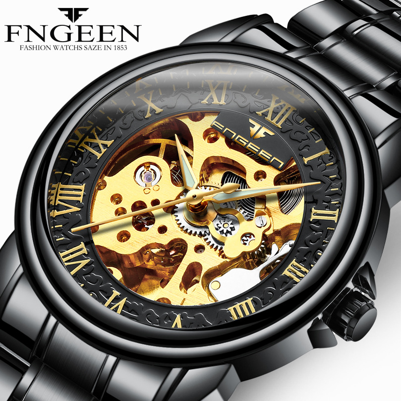 FNGEEN Automatic Watches Black Steel Leather Mechanical Watch For Men Male Clock horloge zegarki meskie mechaniczne