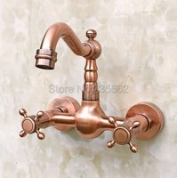 Bathroom Dual Cross Handle Wash Basin Faucet Wall Mounted Antique Red Copper Faucets Cold and Hot Water Vessel Sink Tap lrg030