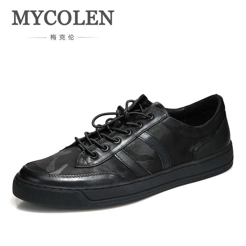 MYCOLEN New Arrival Autumn And Winter Comfortable Casual Shoes Mens For Men Lace-Up Brand Fashion Camouflage Flat Loafers Shoe mens s casual shoes genuine leather mens loafers for men comfort spring autumn 2017 new fashion man flat shoe breathable