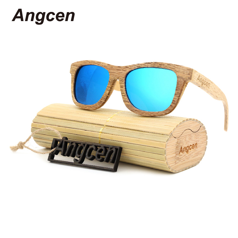Angcen 2017 New Fashion Products Men Women Glass Wood Polarized Sunglasses Retro Wood Lens Wooden Frame Handmade ZD03