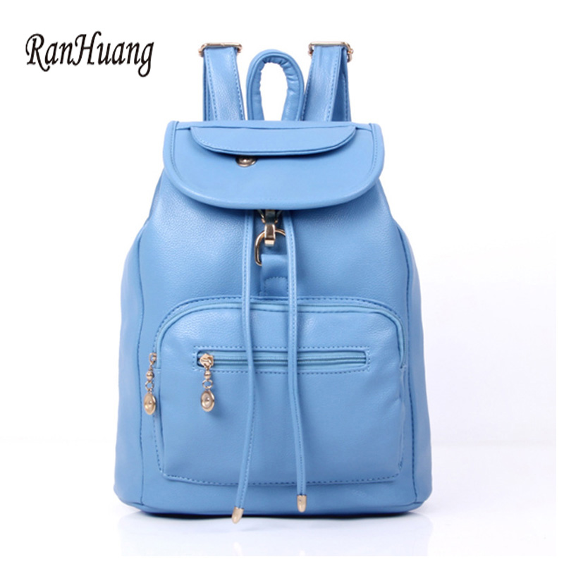 RanHuang Women PU Leather Backpack 2017 Casual Travel Bag School Bags For Teenagers Girls Black Blue