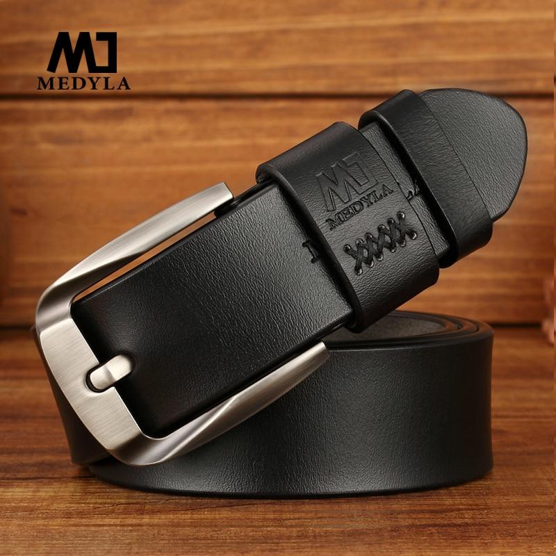 MEDYLA Man's   belt   Men Fashion Casual High Quality   Belt   Vintage Design Pin Buckle Genuine Leather   Belt   Male Waistband