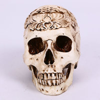 High Quality Human Skull Replica Resin Model Medical Realistic Lifesize 1:1 Carving Flower Decorative Crafts Skull