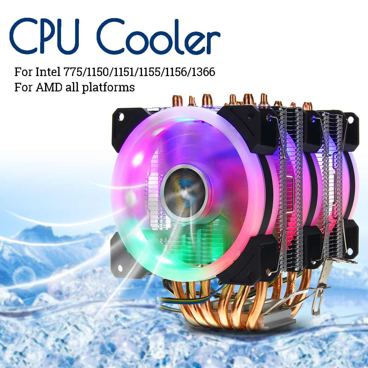 <font><b>CPU</b></font> Cooler 6 Heatpipe RGB LED <font><b>Fan</b></font> Quiet 4pin <font><b>CPU</b></font> <font><b>Fan</b></font> Cooling Heatsink <font><b>CPU</b></font> Cooling for Intel <font><b>775</b></font>/1150/1151/1155/1156/1366 for AMD image