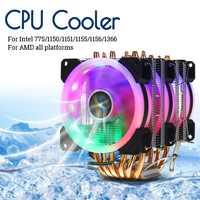 CPU Cooler 6 Heatpipe RGB LED ventilador silencioso 4pin CPU ventilador refrigeración disipador de calor CPU refrigeración para Intel 775/1150 /1151/1155/1156/1366 para AMD