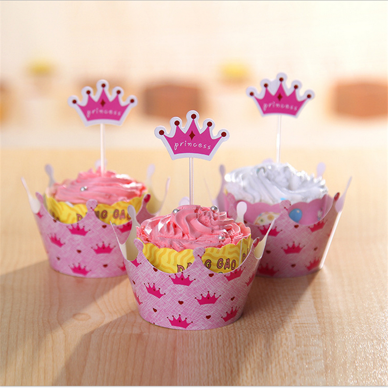 Princess crown Cupcake wrapper Topper picks Baby Girl 1st birthday party favor decor baby shower childrens day cake decoration