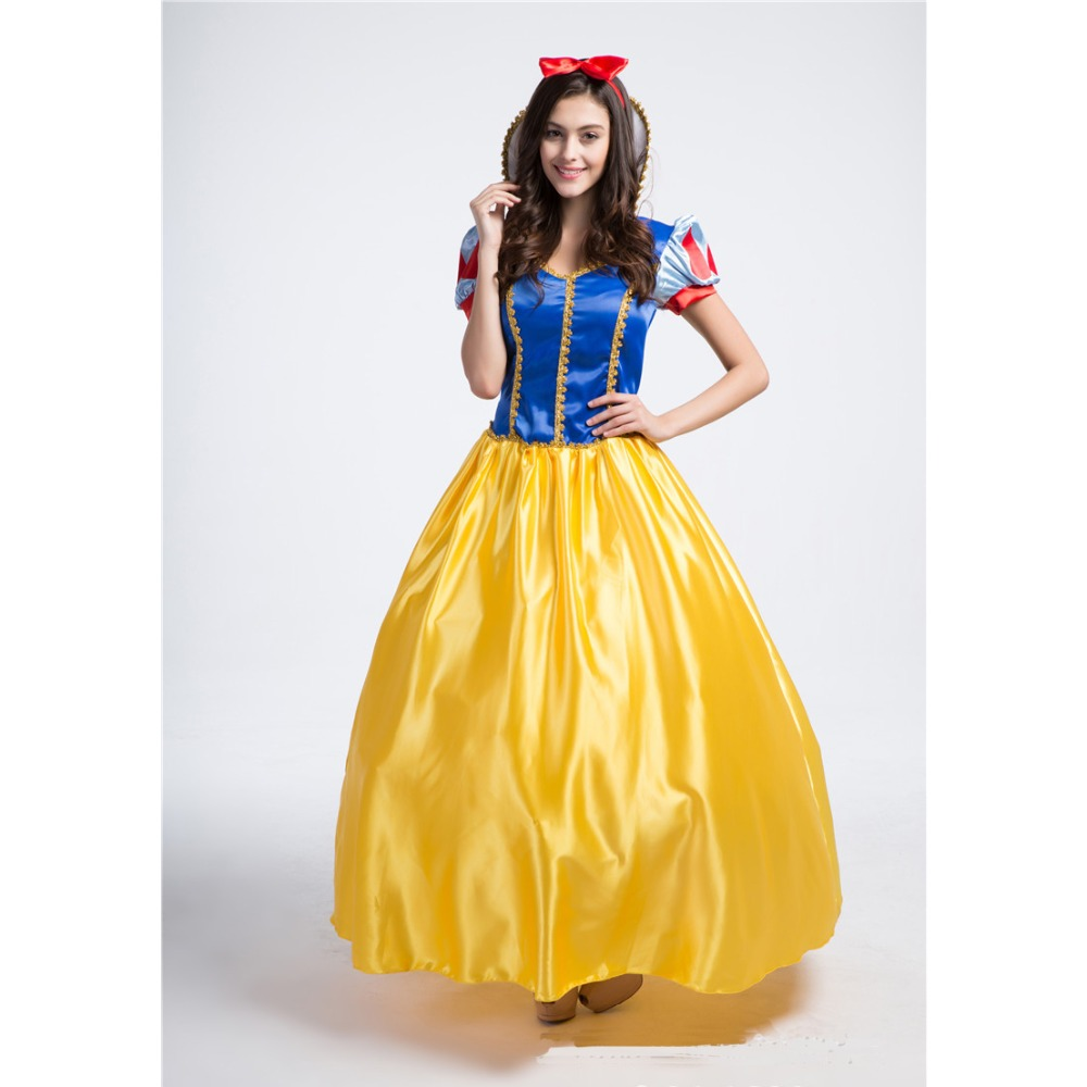 womens deluxe snow white princess long dress costume with petticoat for halloween stage cosplay fancy party - Halloween Petticoat