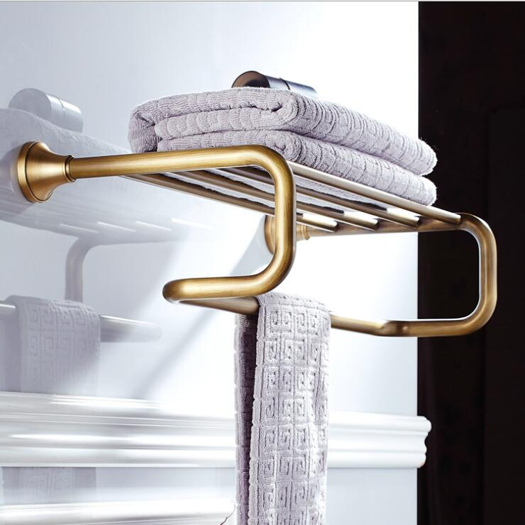 Antique Bronze Fixed Bath Towel Holder Brass Towel Rack Holder for Hotel or Home Bathroom Storage Rack Towel Shelf bath towel holder antique brass double bath towel rack holder bathroom storage organizer shelf wall mount