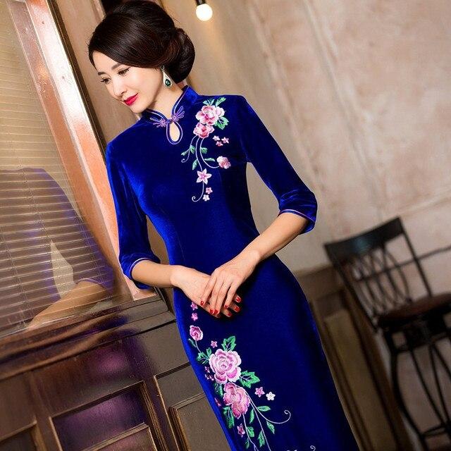 fcba0af00c Urocze Retro chiński kobiety jesień zima welur sukienka Cheongsam QiPao  długa Party Wear Cheongsams sukienki dla