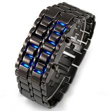 цена на Lava Iron Samurai Men's Watch Luxury Stainless Steel Band LED Watches Men Sports Electronic Watch Led Digital Watch reloj hombre