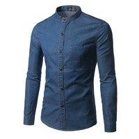 Mùa thu Đông Nam Áo New Style Màu Rắn Đứng Cổ Áo áo sơ mi Phong Cách Sơ Mi Nam Jean Long Sleeve Top mặc Cộng Với 5XL