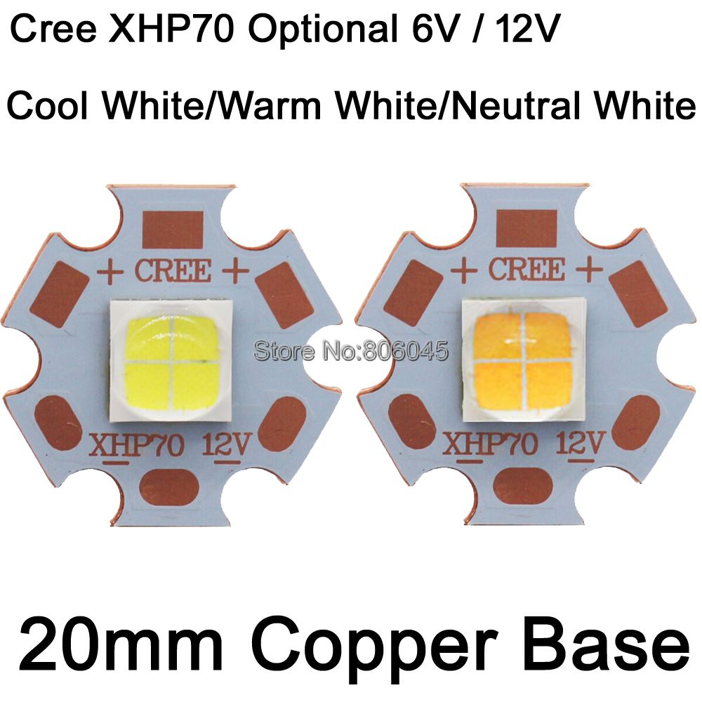 1pcs cree xhp50 xhp70 6000k cool white 18w 35w led emitter 6v 12v with 16mm 20mm for ultra high brightness head lamp car bulbs Cree XHP70 28.8W 6V / 12V 6500K Cool White, 5000K Neutral White, 3000K Warm White High Power LED Emitter Chip w/20mm Copper Base