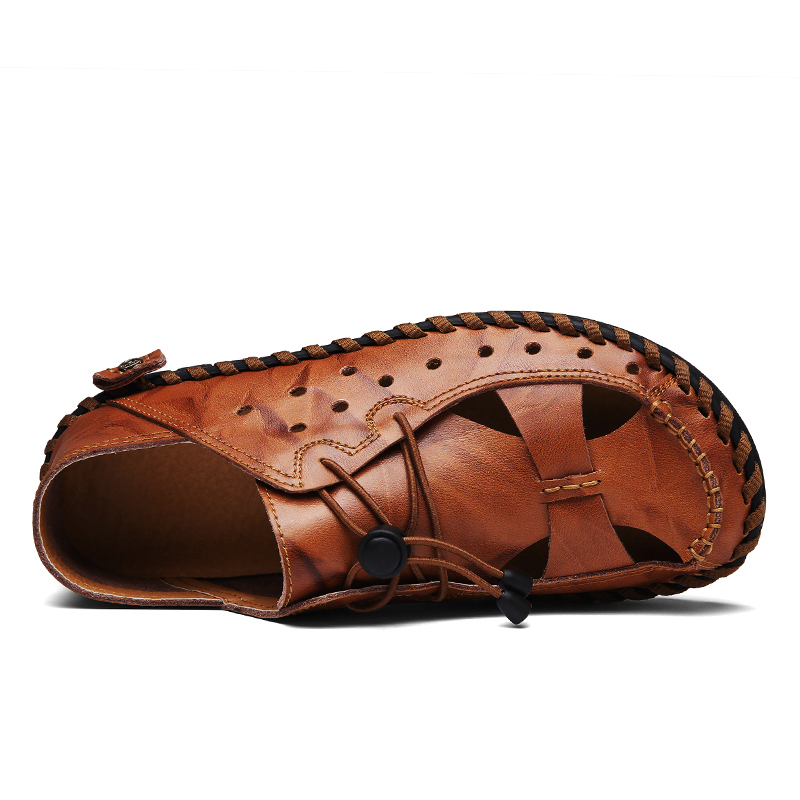 Taille Hommes Respirant 46 Casual D'été Cuir Chaussures Véritable red Mode De Brown Plage 38 Grande Noir Nouveaux Style Brown yellow Sandales Rome 7d6q7w