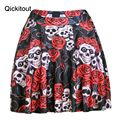Qickitout Skirts Hot Wholesale High quality Plus size Fashion Sexy Slim Women's Rose stare skull Skirts 3D Digital Print Skirts