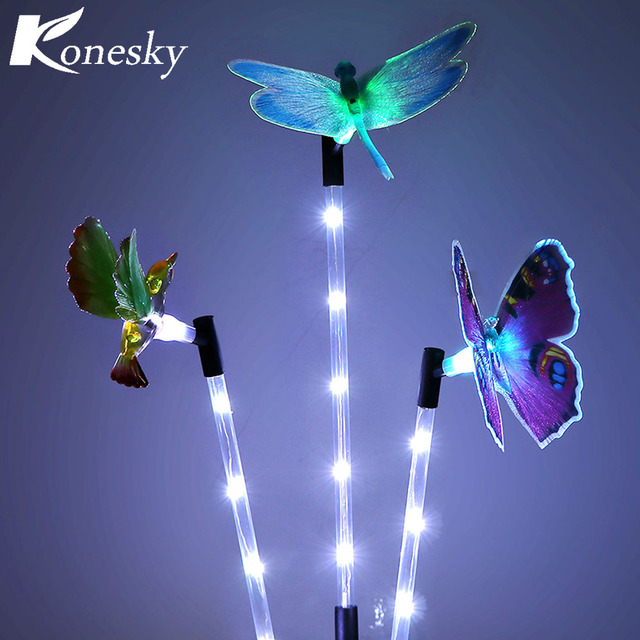 3pcs Multi Color Solar Garden Light LED Lawn Light Gradual Changing Path  Light Butterfly Hummingbird