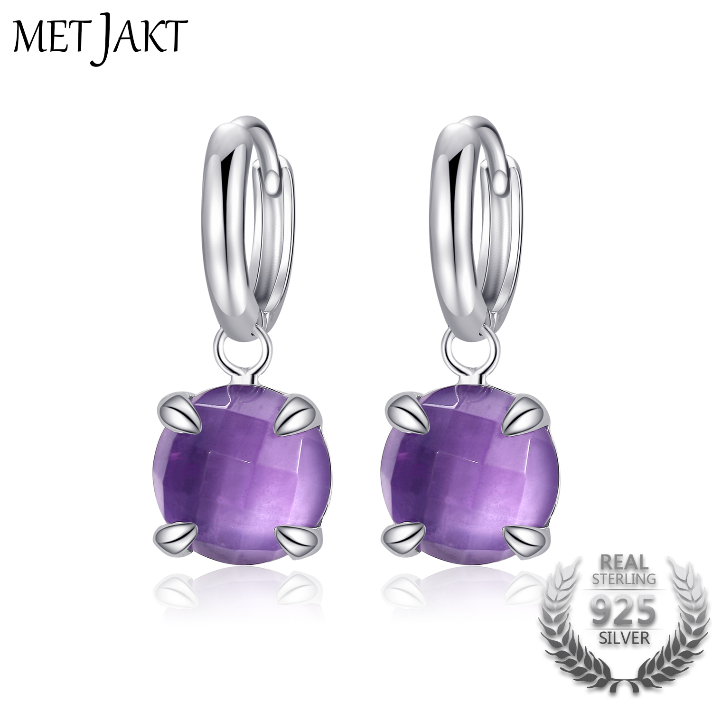 MetJakt Authentic Natural Amethyst Gemstone High end Elegant Classic 925 Sterling Silver Earrings for Women s