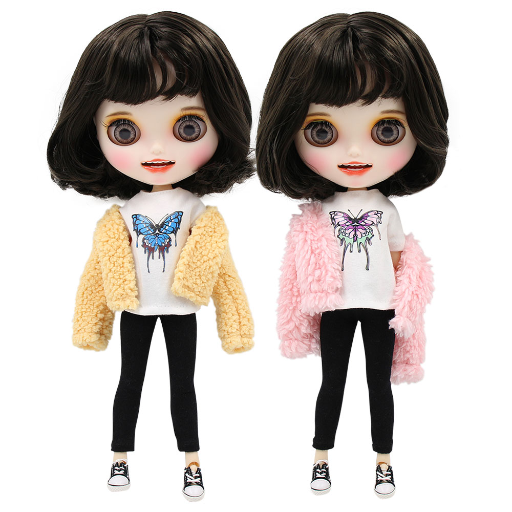 1 6 bjd factory blyth doll short black hair new matte face with teeth white skin