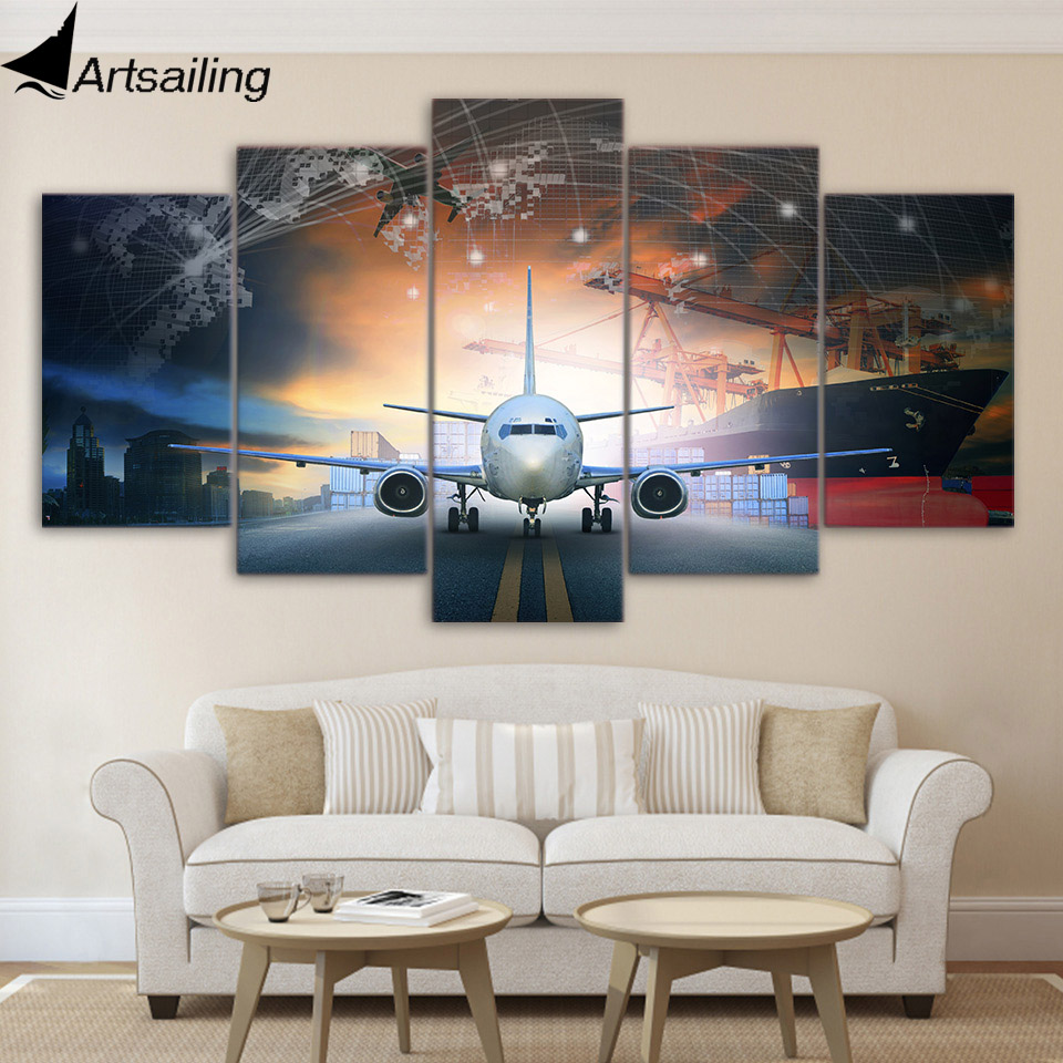 Aliexpress.com : Buy 5 piece canvas art plane poster