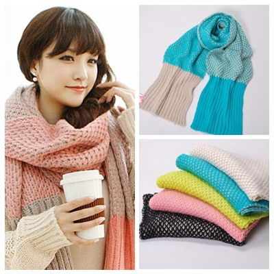 Hot New Popular Brief Casual High Quality Thick Patchwork Knit Scarf For Women Keep Warm Soft Shawls Wraps 5 Styles FreeShipping
