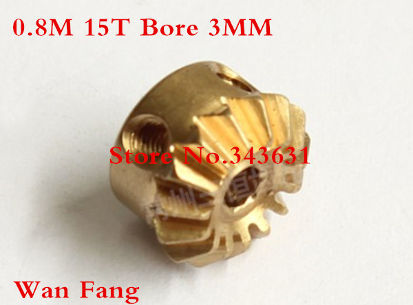 2PCS 0.8M15T  Bevel Gear  0.8 Mod M=0.8 Modulus Ratio 1:1 Bore 3mm Brass Right Angle Transmission parts machine parts DIY