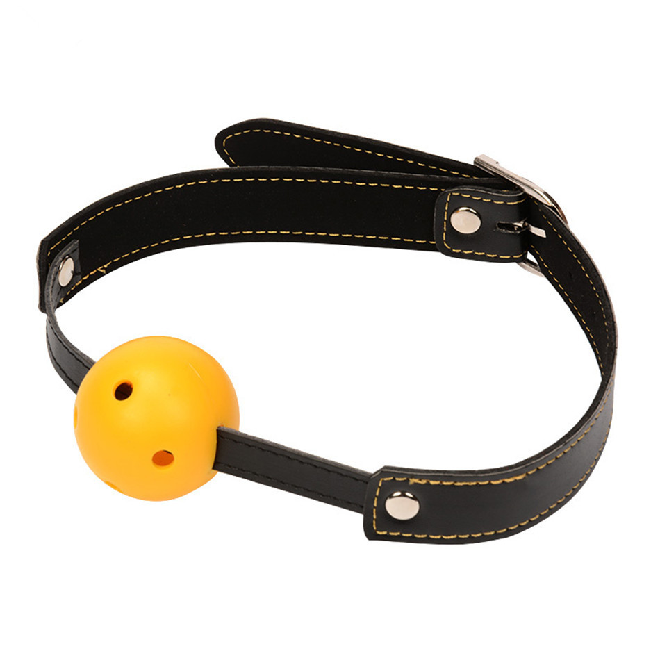Buy Leather Open Mouth Gag Ball Harness Restraints Erotic Games Oral Fetish BDSM Bondage Sex Toys Couples Sex Products ST448