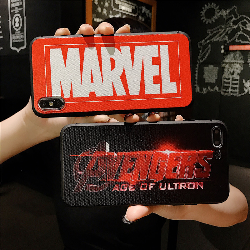 Marvel Case For Iphone X Xs Max Xr 10 8 7 6 6s Plus soft silicone phone cover 3D Super relief Luxury Couple Anime Coque Fundas in Fitted Cases from Cellphones Telecommunications