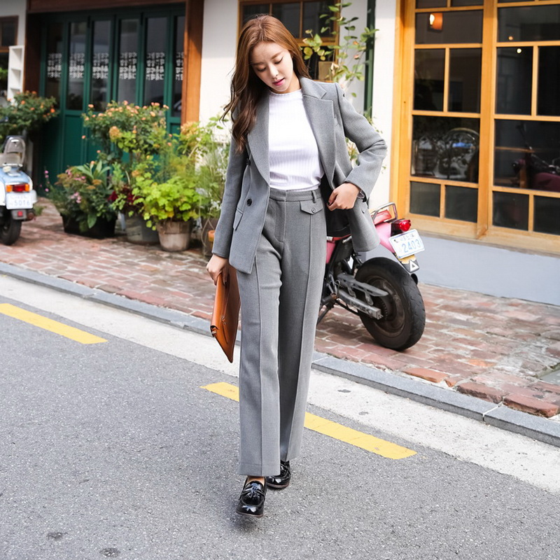 Fashion Casual Blazer Women Business Suits Formal Pant Suits Work Uniforms Ladies Pant and Jacket Sets OL Style L714