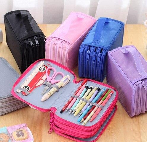 Ofis ve Okul Malzemeleri'ten Kalem Çantaları'de 72 sahipleri 4 Katmanlı Taşınabilir Oxford Tuval Okul Kalemler Vaka Kılıfı Fırça Cepler Çanta kalemlik Okul Malzemeleri title=