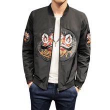 Spring Jacket Mens Fashion New embroidery Casual Bomber Jacket Korean Slim Fit  Coats Long Sleeve Patch Design Windbreaker 5XL embroidery patch front pocket design jacket