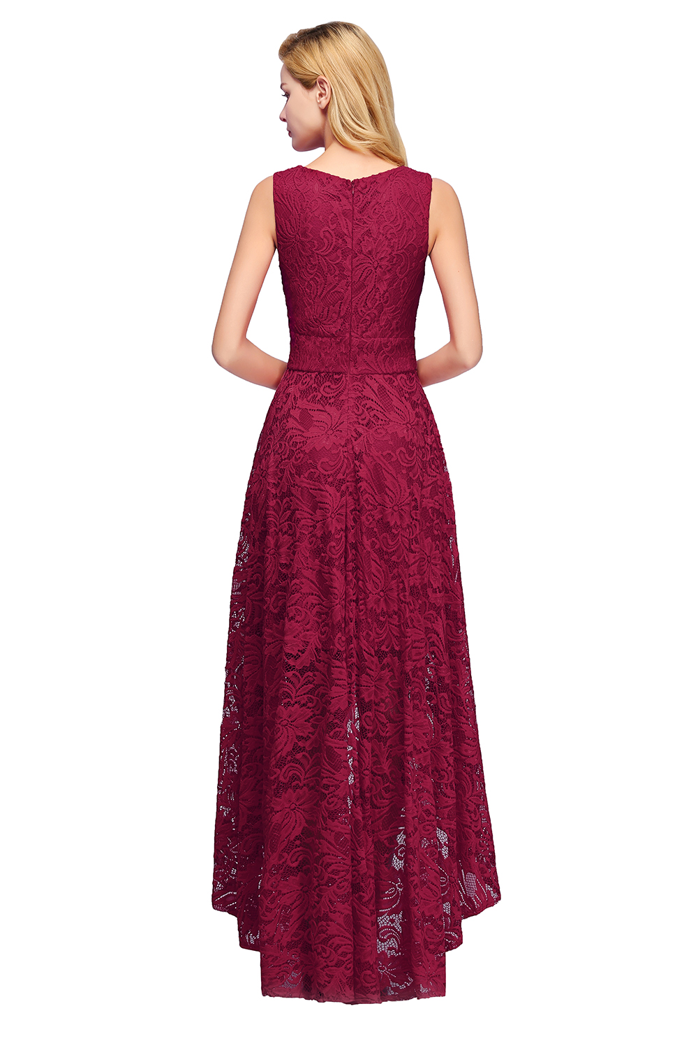 Elegant 2019 Burgundy Sexy Lace Short Evening Dress V Neck Sleeveless Evening Gown robe de soiree in Evening Dresses from Weddings Events
