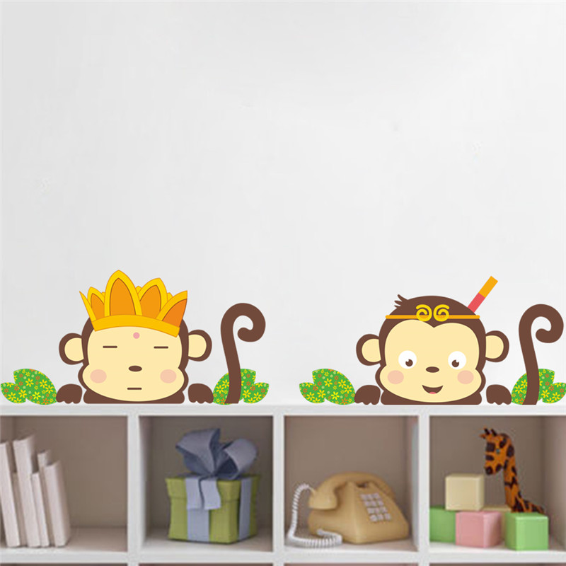 lovely monkeys wall stickers decals children animals plants wallpaper mural girls boys kids home bedroom nursery - Monkey Bedroom Decor