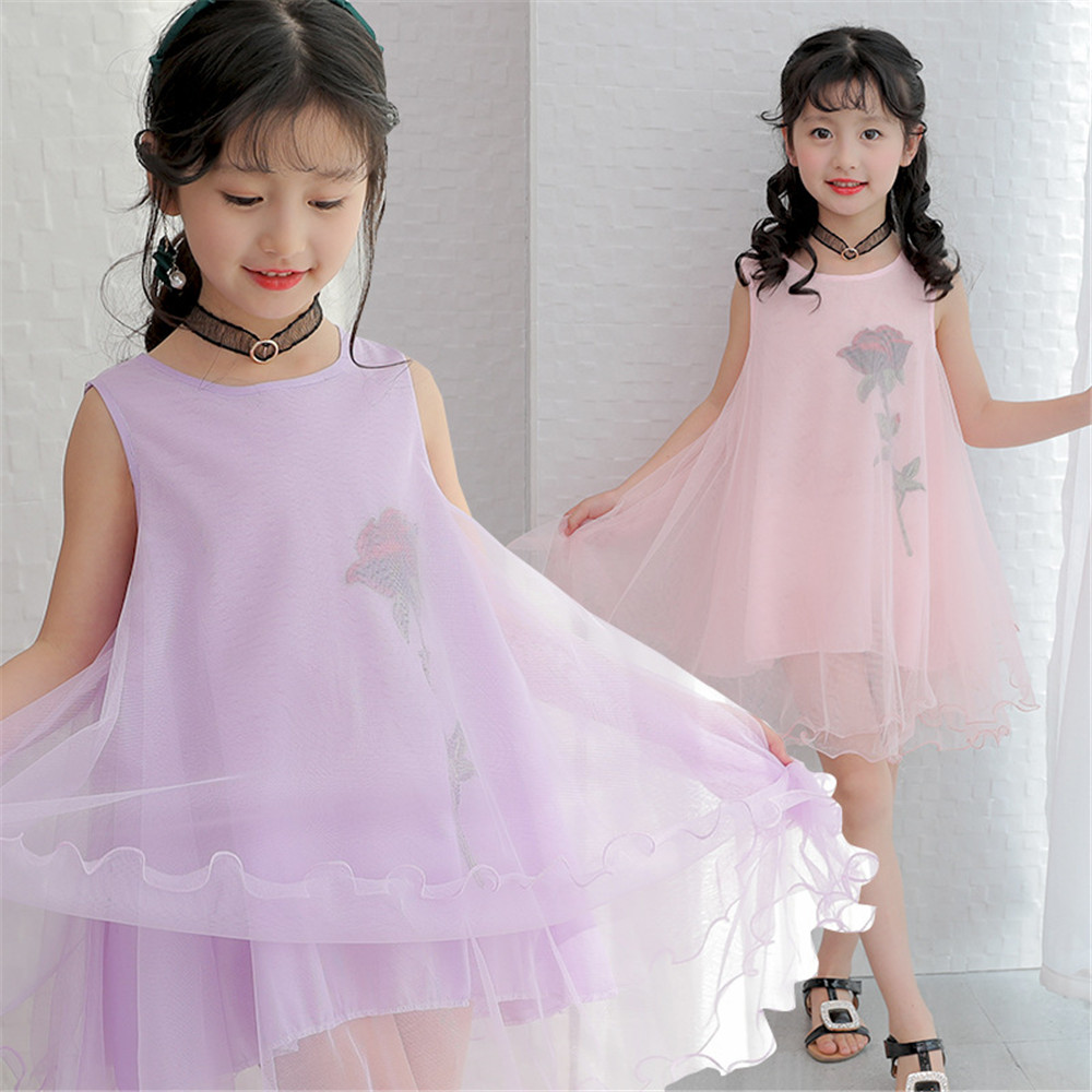 2017 Summer Flower Girl Dress Lined Cotton Organza Material Baju Anak Kostum Princess Aurora Pink Motif Sleeveless Dresses For Girls Clothes Kids Children Clothing In From Mother