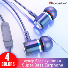 Langsdom M400 Sport Earphone for Phone Xiaomi Wired Headset Metal Earphones in ear headphones Bass Earbuds ear phones with Mic(China)