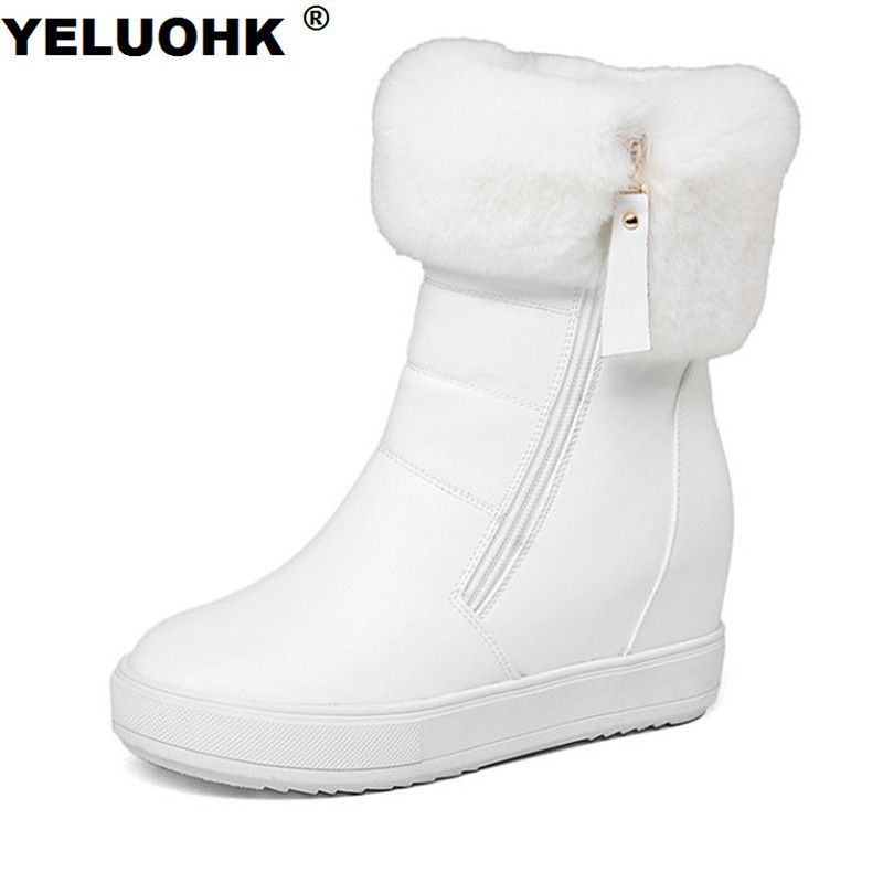 New Fashion Snow Boots Women High Heels Warm Winter Shoes Women Boots With Fur Platform Shoes Ankle Boots For Women 11cm heels 2013 new winter high platform soled high heeled snow boots female side zipper rabbit fur thick heels snow shoes h1852
