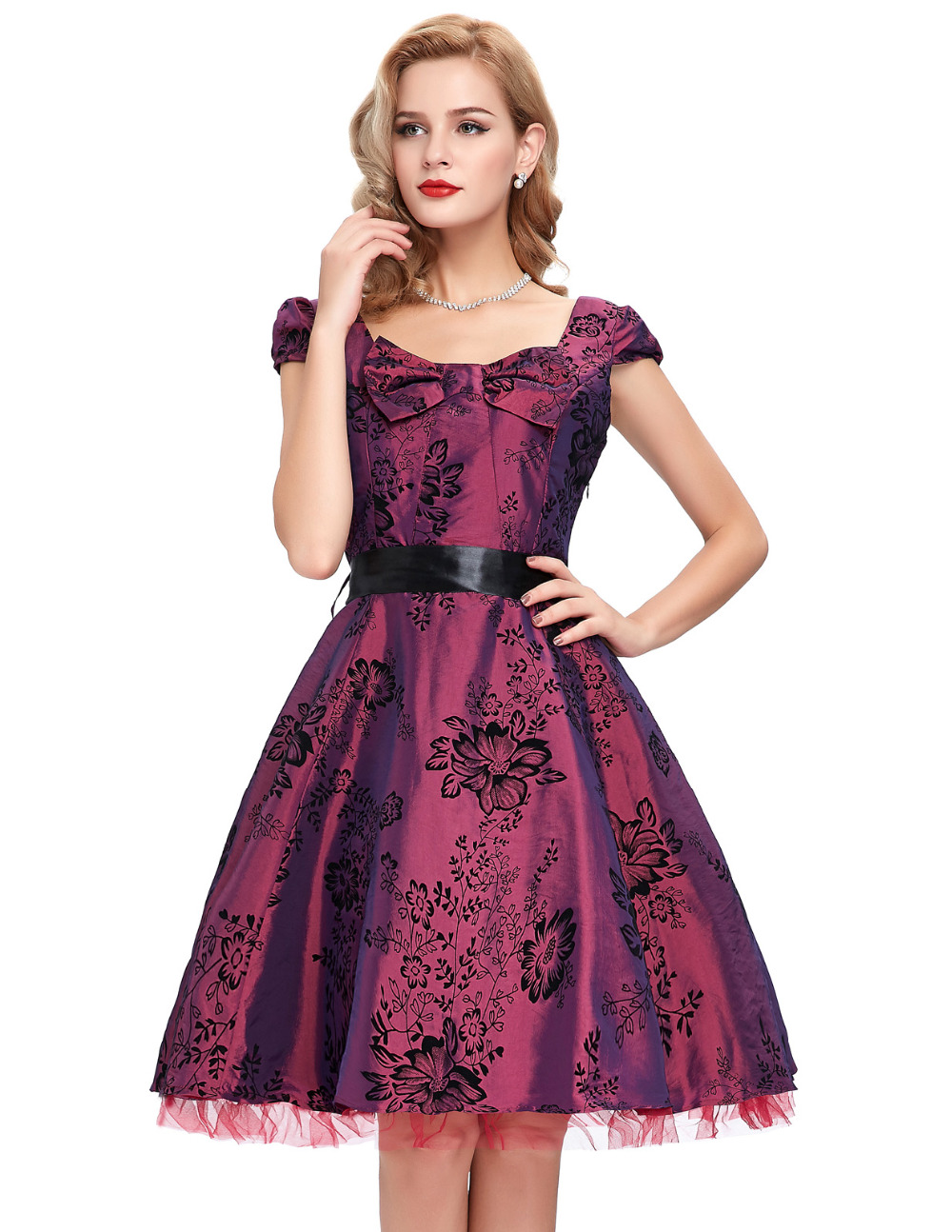 Buy Cheap Grey Burgundy Women summer dress 2016 Retro Audrey hepburn Rockabilly dresses Swing Pinup floral printed 40s 50s 60s vestidos