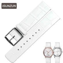 ISUNZUN  Genuine Leather Bracelet 16 20mm Watch Strap Men/Womem Watchband Wristwatches Band Butterfly Buckle for CK K2Y231 все цены