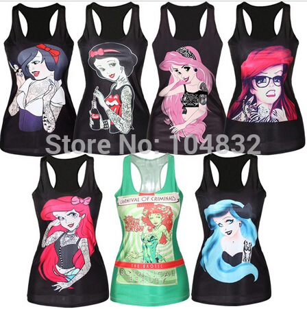 YEMUSEED Women Digital Print   Tank     Tops   Sexy Girls   Tanks   Mermaid Camisole   Top   Cartoon Print Summer Fashion Sleeveless Vest