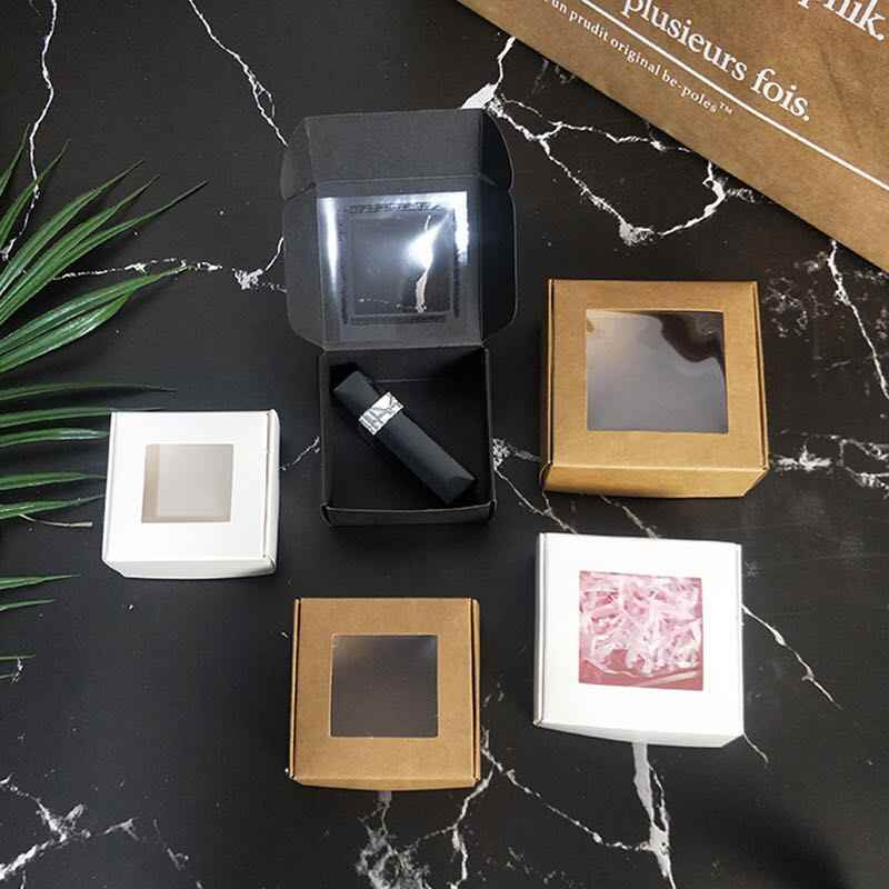 10pcs Blank small white black soap cardboard paper boxes,black krfat paper craft box,candy gift packaging box with pvc window