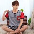 Plus talla para hombre ropa de noche fija de manga corta chándal informal de verano fahsion Coreano algodón pijamas para hombres pijamas de hombre a cuadros