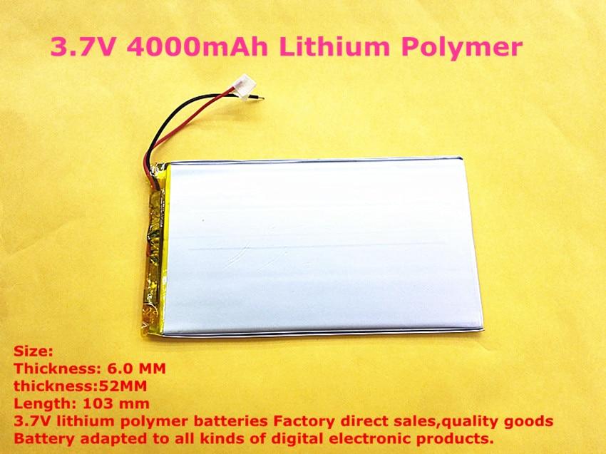 1PCS ATL 6052103 3.7V 4000mAh Lithium Polymer Rechareable Battery 6MM*52MM*103MM