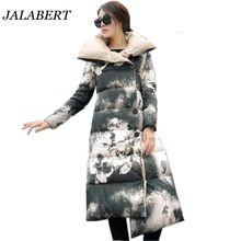 2016 new winter long down padded coat collar women jacket female Fashion personalized printing knee thick thin A-line Warm coat