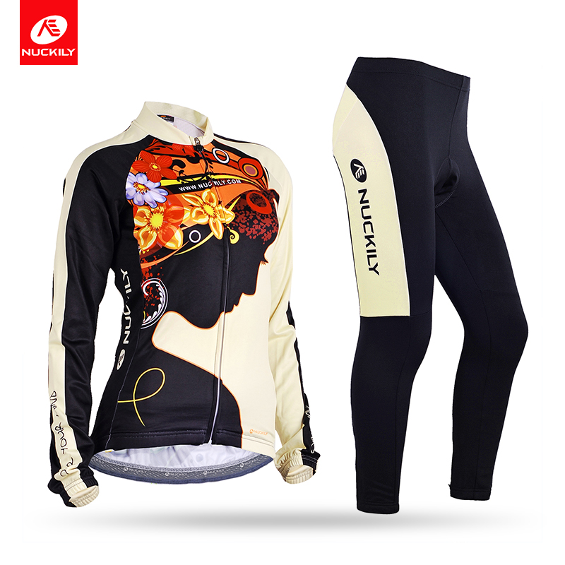 NUCKILY Winter Womens Cycling Jersey Sets Flower Pattern Meditate Fleece Long Riding Clothing GE006GF006